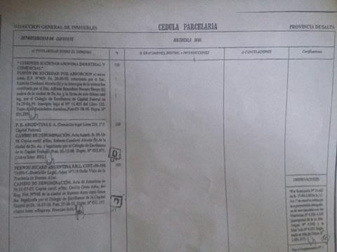 La Cédula parcelaria presentada en la tasación del Martillero José Luis Argañaraz en la que no figura el embargo