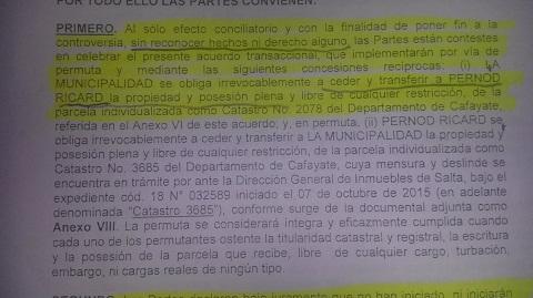El texto del convenio o preacuerdo redactado por la Municipalidad de Cafayate donde no se habla del embargo