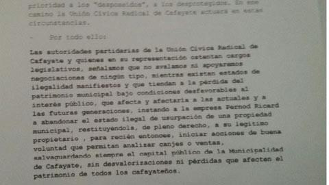 Texto del comunicado firmado por los tres concejales radicales