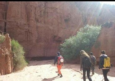 Las tres personas tras ser rescatadas en la Quebrada de Cafayate