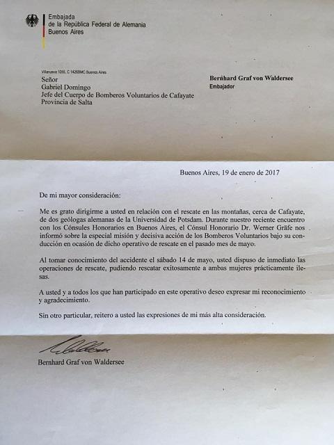 La carta de agradecimiento del Embajador de Alemania