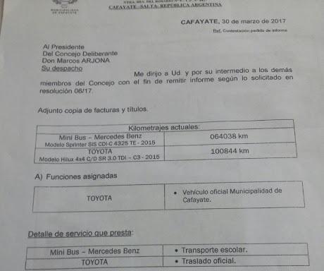 La nota enviada por Almeda que muestra como cambió el destino de la donación asignándose a su uso la camioneta