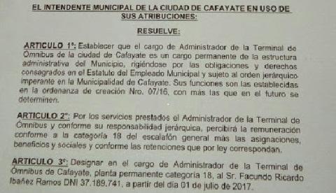 Parte de la Resolución que designa a Ibañez en Planta Permanente y categoría 18