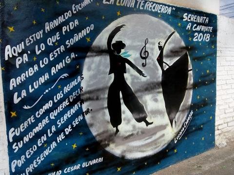 Julkio Cesar Ulivarri puso versos a Arnaldo Etchart  en el mural de Luciana Cabezas