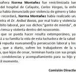 El gremio de APSADES responsabiliza a Vargas por lo ocurrido con Norma Montañéz