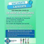 Se encuentran disponible la vacunación para mayores de 18 años este sábado y Domingo