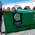 Trabajadores municipales de San Carlos marcharon este viernes en reclamo de mejoras salariales.